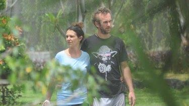 Sara Connor and David Taylor strolling in Bali's Kerobokan jail in January.