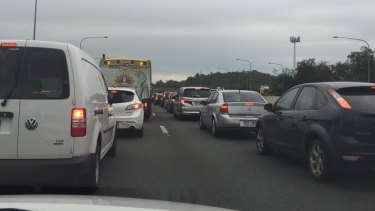 The Pacific Motorway became a parking lot for hours after Tuesday's truck accident.