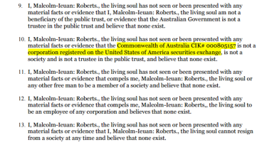 "In the affidavit, Mr Roberts claims there is no evidence the Commonwealth of Australia ""is not a corporation registered on the US securities exchange""."
