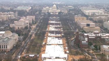 An aerial view of sparse crowds on the national mall at Donald Trump's inauguration.