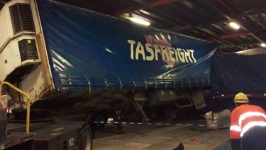 A semi-trailer tipped over on the Spirit of Tasmania II on Tuesday.
