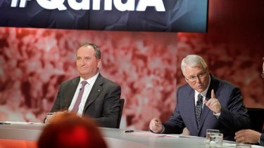 Tony Jones, host of ABC's Q&A program, with Agriculture Minister Barnaby Joyce.