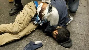 A photo of suspect Akayed Ullah, verified by police officials, in the aftermath of the bombing.