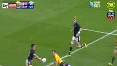 Sean Maitland was sent to the sin bin after sticking out his right hand to cut off a Bernard Foley pass.