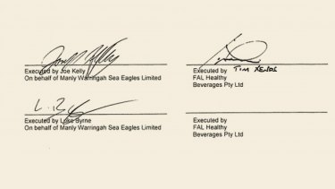 The signatures of Manly officials Joe Kelly and Luke Byrne and FAL's Tim Xenos.
