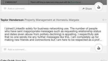 Taylor Henderson was fed up with receiving inappropriately personal messages on business network LinkedIn.