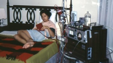 Carolyn Hochkins on her kidney dialysis machine in the 1970s.