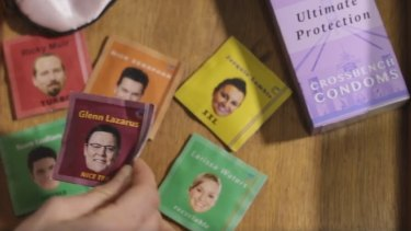 Glenn Lazarus and some of his Senate crossbench colleagues feature on condom wrappers in GetUp's sexually charged advertisement.