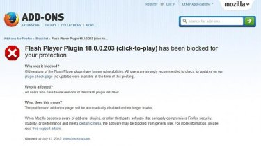 Firefox now blocks the latest version of Flash citing 'known vulnerabilities'.