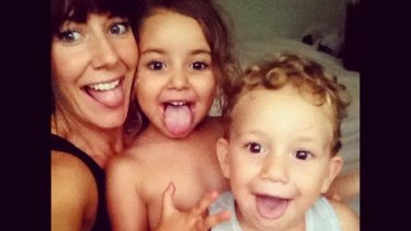 Sally Faulkner with her children Lahala and Noah.