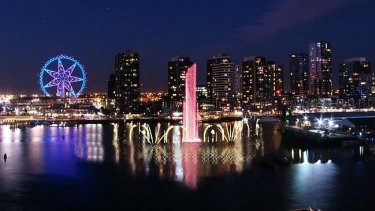 An artist's impression of the proposed Docklands fountain and flame show.