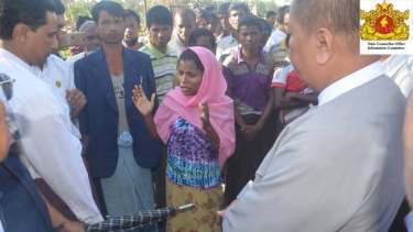 Jamalida Begum makes her rape allegations to representatives of the Myanmar government's Rakhine State Investigation Commission on December 11, 2016.