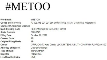 A clipping showing the application for the US trademark by Hard Candy for the hashtag #metoo that was lodged in October.