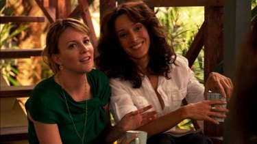Bette Porter (right), the L Word character played by Jennifer Beals, with her on-screen wife Tina Kennard.