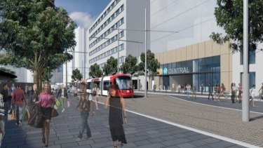 An artist's impression of the eastern entrance to Central Station on Chalmers Street.