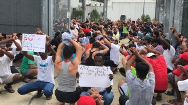 Australia under fire: detainees protest for water and power at the detention centre on Manus Island.