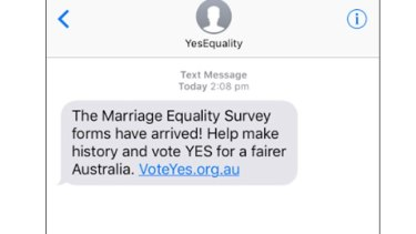 The text message sent to thousands of Australians on Saturday.