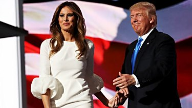 Presumptive Republican presidential nominee Donald Trump introduces his wife Melania on the first day of the Republican National Convention.