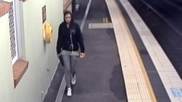 CCTV footage shows missing teenager Cassie Olczak onthe platform at Waterfall railway station on Sunday night.