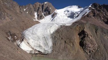 The Manshuk Mametova glacier melts into a lake 3,550 metres above sea level, in the Tien Shan mountains near Almaty.