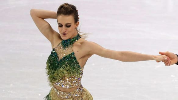 An unfortunate wardrobe malfunction overshadowed Gabriella Papadakis and Guillaume Cizeron of France's short dance routine, which is a real shame because the duo had an incredible skate (placing second) and also because this dress was one of the best of the comp. The green hues and fringing set it apart from your standard figure skating leotard and the halter is fabulous (if not, um, structurally sound).