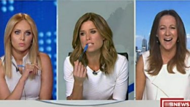 Julie Snook (left), Amber Sherlock (middle) and Sandy Rea all wore tops on air on Channel Nine - causing Sherlock to thrown a tantrum.