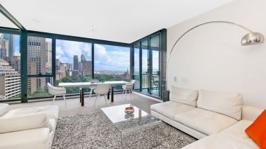 The unit at 1503/157 Liverpool st Sydney where Simon Gittany threw Lisa Harnum off is now for sale.
