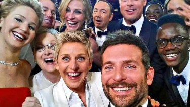 Celebrities line up for a selfie with Ellen Degeneres at the 2014 Oscars in a canny piece of product placement for Samsung.