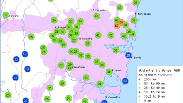 Rainfall across Sydney from 9am to 11pm on Sunday.