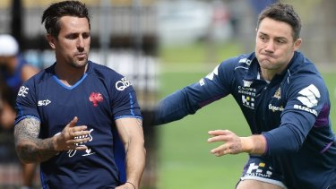 Replaced: Mitchell Pearce, left, has been released by the Roosters just two weeks after they signed Kangaroos halfback Cooper Cronk.
