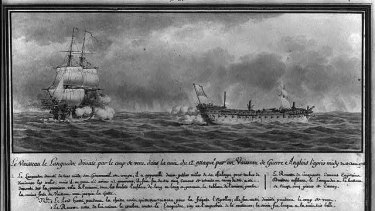 The French vessel Languedoc under fire from the British ship Renown in 1778, by Pierre Ozanne.