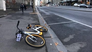 An oBike left on Spencer Street in June.