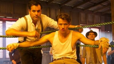 Corey Large (Rex) and Thomas Cocquerel (Errol Flynn) in a scene from In Like Flynn.