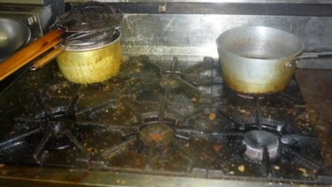The unwashed kitchen in the Caloundra food business.