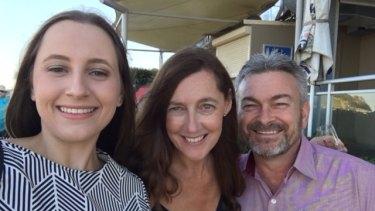 Karen (centre) and Borce Ristevski with their daughter Sarah.