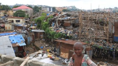Kingtom Bomeh, or the Dump, the biggest slum in Freetown.