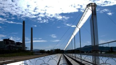 Back to the future: AGL's pilot solar thermal plant on the Liddell site with the power station in the background..