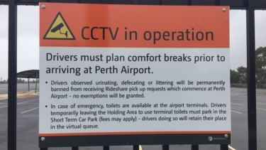The signage for Uber drivers at Perth Airport.