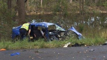 The wreckage of Matt Tudor's car following the head-on collision on the Central Coast.