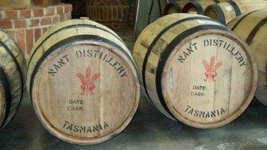 Barrels at the Nant Whisky distillery.