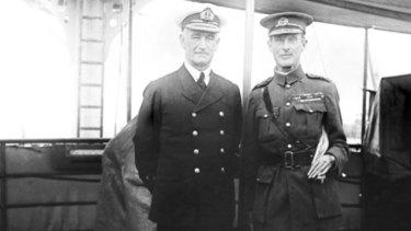 General Sir Ian Hamilton (right) with Admiral John de Robeck aboard HMS Triad.