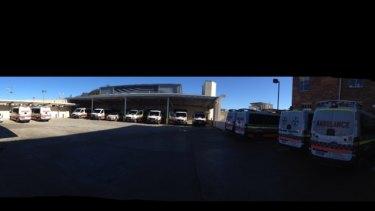 Waiting: Ambulances at Gosford Hospital earlier this week.
