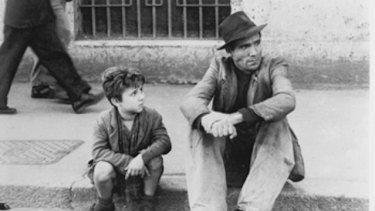 Enzo Staiola and Lamberto Maggiorani in Bicycle Thieves.