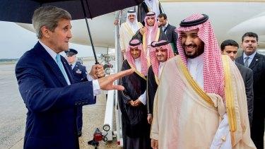 US Secretary of State John Kerry meets Deputy Crown Prince Mohammed bin Salman in Washington in May 2015.