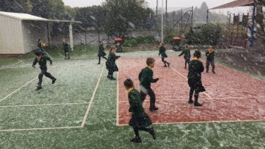Snow and hail at St Mary's Primary School, Clarkes Hill, on Monday.
