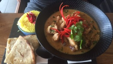 """Stone"" curry of the day - which turned out to be sausages with pilaf rise and naan bread at $26."