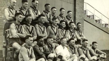 The Brickfielders: Nicholls (second from left, bottom row) had a distinguished career with Northcote Football Club.