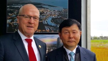 Sunshine Coast mayor Mark Jamieson with Envac Asia Region president Chun Yong Ha 'Waste collection is about to be revolutionised'.