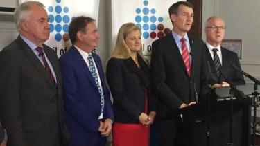 Olympics bid gathers steam for 2028, with mayors (from left), Paul Antonio (Toowoomba), Paul Pisasale (Ipswich), Karen Williams (Redlands), Graham Quirk (Brisbane) and Sunshine Coast's Mark Jamieson.