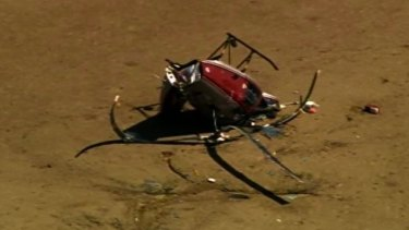 Wreckage of a chopper that crashed at Deception Bay.